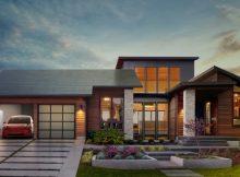 Tesla Solardach aus Dach-Ziegel mit integriertem Solarmodul